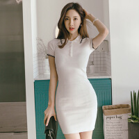 2018夏装新款韩版气质POLO领修身针织包臀职业时尚连衣裙女 均码