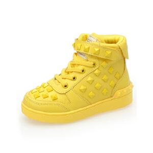 比比我2017春秋新款糖果色高帮鞋韩版休闲运动鞋大童鞋厚底儿童休闲童鞋