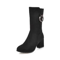 WARORWAR法国新品YG11-8255冬季欧美反绒粗跟中高跟女士靴子切尔西靴短靴