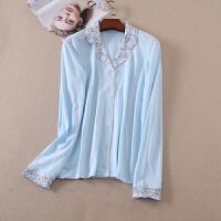款 简约圆点秋冬睡衣上装长袖单排扣情侣纯棉居家服 WA3360