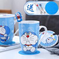 卡通陶瓷杯子可爱马克杯大容量咖啡杯早餐带盖勺水杯牛奶杯情侣杯