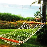 户外单人网状绳吊床便携秋千网床加粗加固加宽棉线带木棍木棒双人