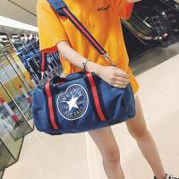 短途旅行包女手提圆筒大容量行李包男旅行袋帆布健身包运动包 蓝色 大