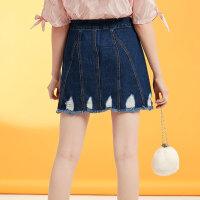 【全场2件2.5折,到手价:31.3】美特斯邦威破洞牛仔短裙女2019夏季街舞时尚设计牛仔半身裙女