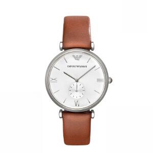 阿玛尼(Emporio Armani)手表皮制表带时尚休闲简约石英男性腕表AR1675