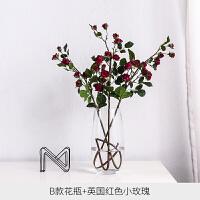 简约小清新玻璃花瓶 欧式水培植物透明插花花器客厅家居装饰摆件