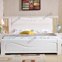 zuczug白色实木床 1.5 1.8米橡木主卧储物高箱床 现代中式双人婚床 套餐 床+2C款柜+床垫