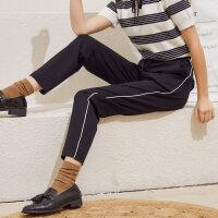 【1件4折价:59.6】美特斯邦威针织裤女夏季舒适简约时尚潮流都市锥形针织裤