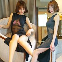 性感情趣内衣女透明紧身制服包臀套装真人大码极度诱惑骚长裙夜店