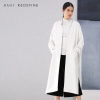 【到手价:170】[AMII东方极简] JII AMII2017冬季新品白色大衣女宽松开叉大码羊毛呢外套中长款