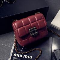 韩版新款女包菱格链条小包单肩斜挎包迷你小方包香包