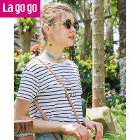 【5折价93.5】Lagogo学院风套头t恤女2018春夏季新款细条纹心机后绑带短袖上衣HATT324A04