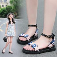 女童凉鞋新款韩版夏季儿童凉鞋童鞋时尚亮片公主沙滩鞋中大童