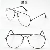 平光镜批发女潮韩国圆脸复古细框眼镜男款装饰透明飞行员蛤蟆镜