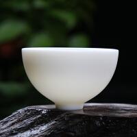 德化羊脂手工汉白玉瓷品茗杯陶瓷原矿茶杯单杯白瓷功夫茶具主人杯