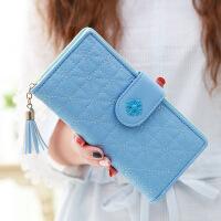 女士钱包女长款 新款可爱流苏车缝线 学生皮夹