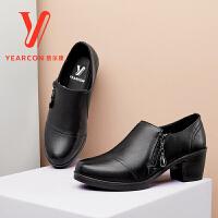 意尔康女鞋秋季新款真皮深口单鞋高跟粗跟中年女士皮鞋妈妈鞋