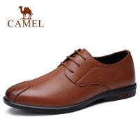camel 骆驼男鞋2018春夏新款日常休闲牛皮鞋柔软系带轻便皮鞋子男
