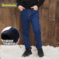 巴拉巴拉男童裤子2018新款韩版秋冬中大童牛仔裤儿童长裤休闲保暖