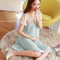 韩版潮妈夏装雪纺短袖上衣孕妇装孕妇连衣裙2018新款中长款