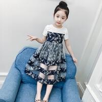 女童裙子新款洋气夏装儿童短袖纱裙连衣裙碎花长裙女孩公主裙