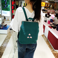 韩国韩版清新复古纯色可爱学生书包双肩包背包 迷你夹子包