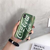 欧美绿色英文苹果6手机壳网红新款iphone7plus创意情侣男女8x 苹果6/6s 清新绿可乐-imd