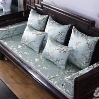 中式实木三人做沙发垫罩巾新中式红木沙发坐垫实木家具古典罗汉床垫子套罩加厚海绵防滑定做