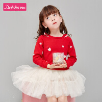 【3件1.5折价:33】笛莎童装女童针织衫2021春季时尚洋气儿童长袖可爱印花针织衫毛衣