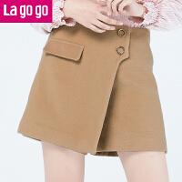 【618大促-每满100减50】Lagogo/拉谷谷2017年冬季新款时尚拉链休闲短裤