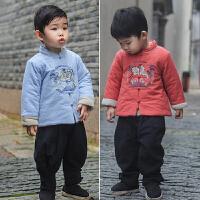 汉服童装男孩儿童唐装冬中国风加厚棉袄仙鹤宝宝加棉男童棉衣外套