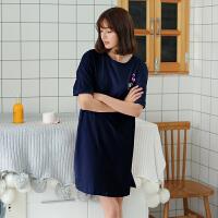 2018夏季睡衣女士纯棉睡裙短袖可外穿家居服韩版中裙