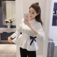 长袖衬衫女2018秋装新款韩版收腰显瘦系带蝴蝶结上衣百搭学生衬衣