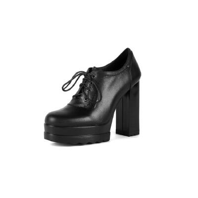 WARORWAR法国2019新品YG14-18-59冬季韩版粗跟鞋中跟女鞋潮流时尚潮鞋百搭潮牌靴子切尔西靴短靴