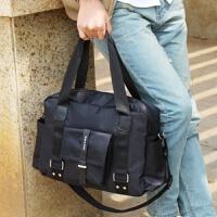 尼龙韩版男包包商务休闲手拎行李包男士旅行包手提单肩斜挎包 黑色 (送卡包)