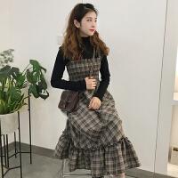 春装新款韩版长袖打底衫T恤+木耳边格子中长款背带裙连衣裙女学生