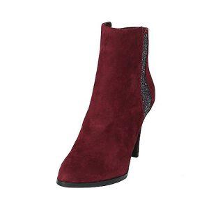 Tata/他她冬羊皮拼接布绒面尖头高跟女皮靴2L144DD6