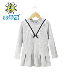 大黄蜂童装 2018年春季新款女童长袖T恤裙摆上衣可爱圆领棉T