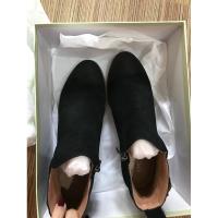2018秋冬新款高跟短靴女粗跟方头马丁靴子春秋单靴显瘦弹力靴女鞋