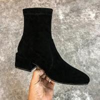 大叔家圆头粗跟磨砂短靴女2018新款中跟弹力踝靴性感显瘦切尔西靴