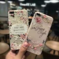 苹果iPhone7/7plus/x/6s时尚玫瑰彩绘浮雕手机壳全包软套 iPhone8时尚玫瑰手机壳彩绘iphonex