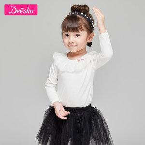 【99元3件专区】笛莎童装女童长袖T恤2019春季新款中小童蕾丝娃娃领上衣套头衫