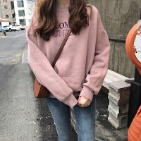 字母印花圆领套头加绒卫衣女春装新款韩版宽松显瘦长袖上衣绒衫