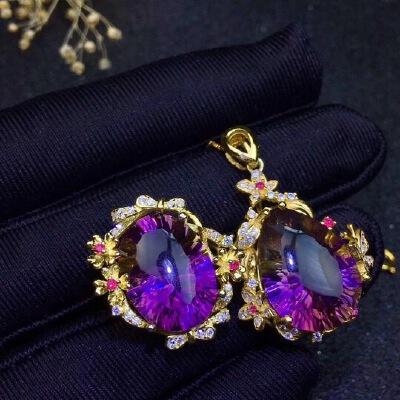 优雅紫黄晶二件套套装,经典款,渐变色和谐美丽,戒面颗颗全净体