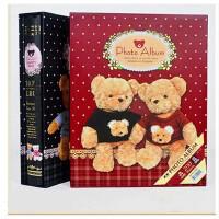 相册 7寸插页式5R200张 大本盒装泰迪熊 可爱宝宝影集像册薄 红色