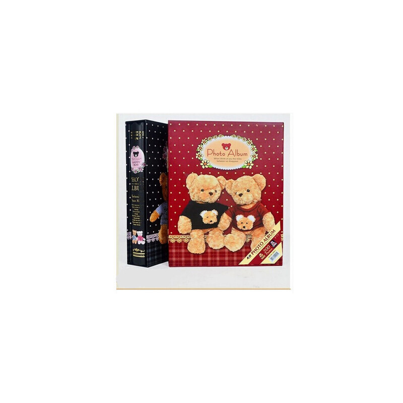 相册 7寸插页式5R200张 大本盒装泰迪熊 可爱宝宝影集像册薄 红色 可放7寸相册200张