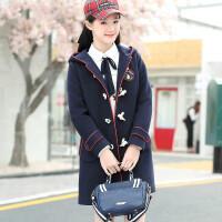冬装新款女大童韩版洋气毛呢外套女童12-15岁中长款呢子大衣加厚 150cm(S码 建议体重:90斤以下)