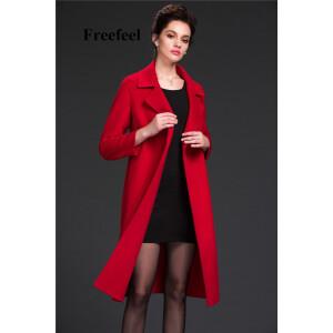 Freefeel2017新款春装羊绒大衣欧美风中长款时尚女装毛呢外套1695