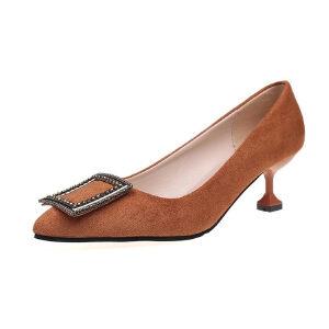 WARORWAR法国YM29-3329C2019新品四季韩版中跟女鞋潮流时尚潮鞋百搭潮牌单鞋女