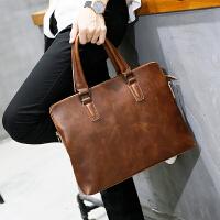男士包包手提包潮流公文包商务休闲皮复古单肩挎包韩版 咖啡色